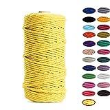 Binwat - Hilo de algodón natural para macramé. Para hacer manualidades, colgar cosas en la pared, colgar plantas, tejer, proyectos decorativos, etc. (3 mm, 100 m), amarillo, 3mm x100m