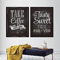 あなたとコーヒーを取るプリント黒板ビンテージスタイルポスターレタリングカフェコーヒーショップ壁アート写真の装飾キャンバス絵画50x70cmフレームなし
