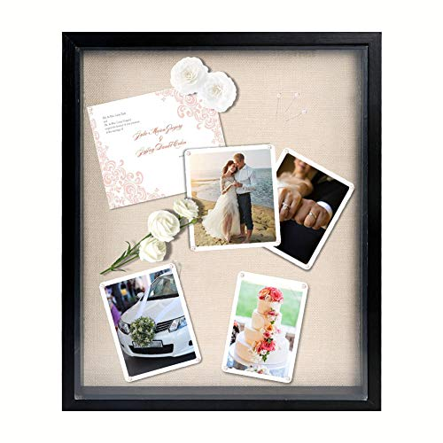 OurWarm 13' x 16' Display Shadow Box Frame Black Shadow Box Display Case with Linen Background and...