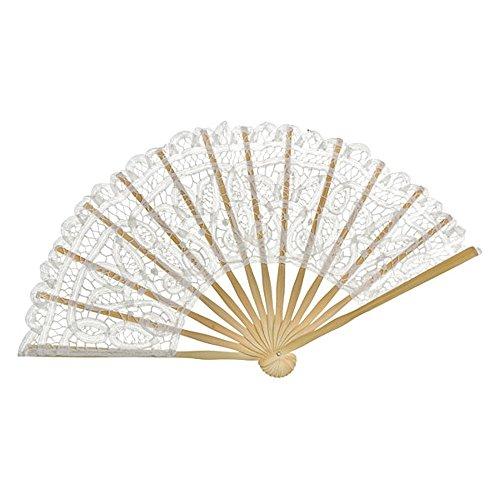 VON LILIENFELD Fächer Carmen handgeklöppelte Spitze Bambusstäbe Handfächer Hochzeitsfächer Deko weiß