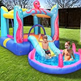 MEIOUKA Kid Inflatable Bounce House Castle with Water Slide 350W Blower Spray Water Pool Ball Pit Octopus Blow up Inflatable Jumping Bouncy Houses for Kids Toddlers Outdoor Indoor Bouncer Party Toys