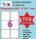 100 A4 de hoja de etiqueta de papel etiqueta adhesiva 6 99,1 x 93,1 mm para las impresoras de chorro de tinta y láser