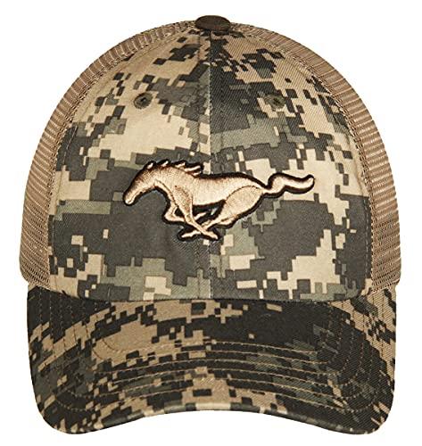 Gorra de malla ajustable para hombre Ford Mustang Tan Digi Camo de la bandera a cuadros