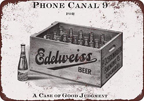 cwb2jcwb2jcwb2j 1912 Edelweiss Bier Vintage Reproductie Metalen bord 8 x 12