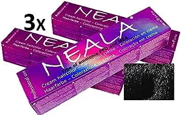 Pack 3 Tintes Profesionales SIN AMONIACO y libre de PPD y MEA- 1.1- Negro Azulado - NEALA 3x100ml.
