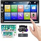 Camecho カーステレオ 2ディン7インチタッチスクリーンカーラジオMP5プレーヤーFM Bluetooth通話IOS/Android携帯用ミラーリンクAUX/USB/SD付きサポート背面図のカメラ入力 + ステアリングホイールリモコン