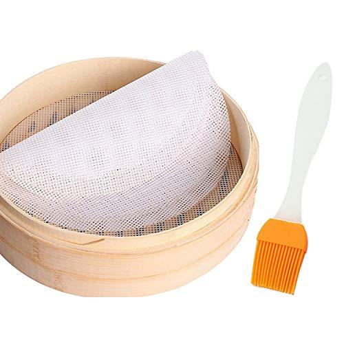 PPX 5 Dim Sum Vaporera Papeles y 1 Cepillo de Aceite de Silicona/Silicona Steamer Alfombrilla para Vaporera de bambú/Vaporera Inserciones Reutilizable, Antiadherente, fácil de Limpiar (25cm)