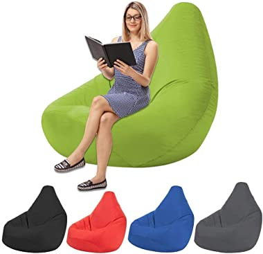 Bean Bag Chair Washable Seat Child Sofa Cover Adult Fluffy Tatami Living Room Tatami Lounge Chair (Color : Black)