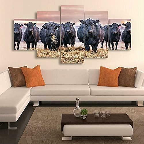 Papel pintado para pared de 5 piezas, diseño de vacas negras, decoración del hogar, 5 paneles (tamaño 3)