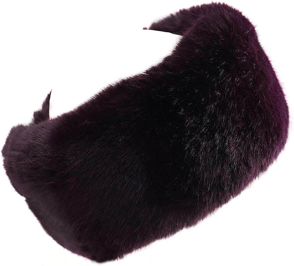 surell Faux Mink Fur Headband Scarf - Ear Warmer and Neckwear (Dark Wine)