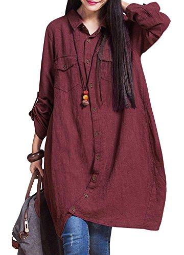 Romacci Women Cotton Long Blouse Irregular Hem Buttons Loose Casual Vintage...