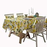MCZ Zitronen auf Weiß Gedruckt für rechteckiges Tischtuch. Reinigen Sie die Tischdecke aus Baumwolle und Leinen. Ölfest/wasserdicht. Fleckenbeständig/schimmelresistent (135 * 220 cm).