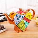 Artvigor, Porzellan Kaffeekanne 850 ml, Bunte Teekanne, Herz Design