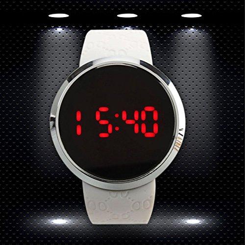 『COCOTINA新しいメンズLEDタッチスクリーン円形パターン日日付スポーツ腕時計(ホワイト)』の1枚目の画像