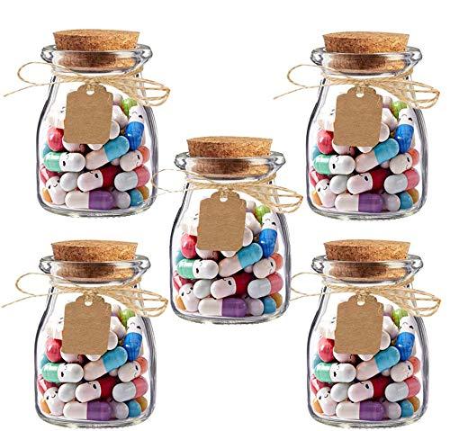 Amajoy - 5 tarros de cristal con 250 cápsulas con mensajes de amor, con pastillas de 2 colores, para San Valentín, regalo de cumpleaños, Día de la Madre o recuerdo de boda