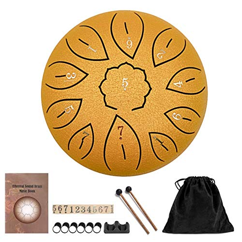 HUANGHUANG Steel Tongue Drum Portable Hand Drum 6 Inch Percussion Instrument 11 Notes Tongue Drum Handpan Drum with Drum Beaters Carry Bag for Meditation Yoga Music Therapy Camping (Golden)