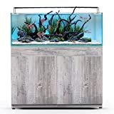 CURRENT USA Serene Freshwater 65 Gallon Complete Fish Aquarium System with Cabinet | LED Lighting, Filtration and Heater, Riverwood Aquascaping Kit | Includes Glass Tank and Wood Stand