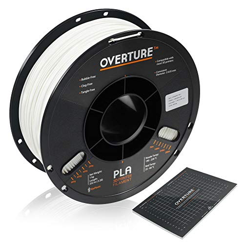 OVERTURE PLA Filament 1.75mm with 3D Build Surface 200mm x 200mm 3D Printer Consumables, 1kg Spool (2.2lbs), Dimensional Accuracy + - 0.05 mm, Fit Most FDM Printer (White 1-Pack)