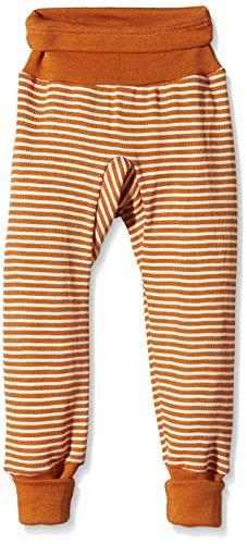 Cosilana Baby Hose lang mit Bund, Größe 74/80, Farbe Orange geringelt, 70 % Merinoschurwolle, 30 % Seide