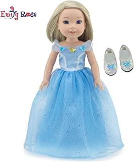 Emily Rose 14 Inch Doll Clothes for Wellie Wishers | Princess Cinderella-Inspired Doll Costume Ball Gown and Sparkly Glass Slippers | Fits 14