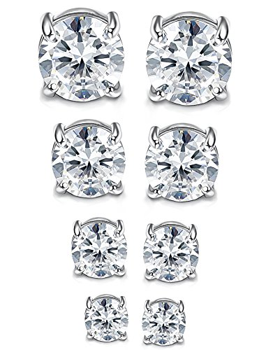Jstyle 4 Pairs Stainless Steel Mens Womens Magnetic Stud Earrings Non-piercing CZ 4-7mm