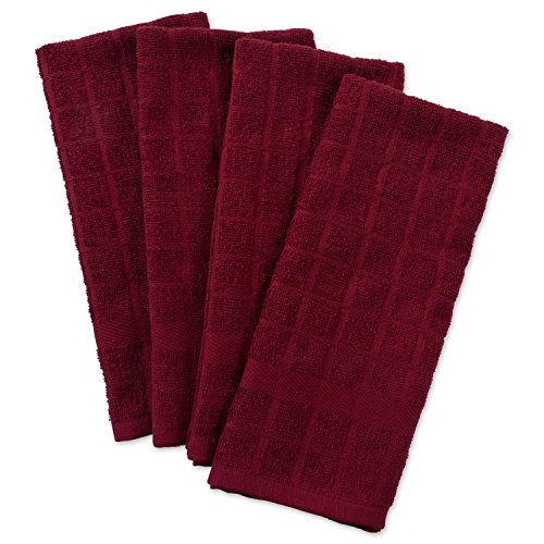DII Cotton Terry Windowpane Dish Towels, 16 x 26' Set of 4, Machine Washable and Ultra Absorbent Kitchen Bar Towels-Solid Wine
