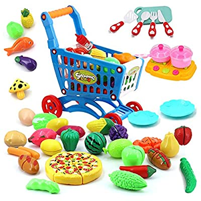 BINGGOO Food Toy Kitchen Cooking Set with Shopping Cart, 44pcs Cutting Fruits Vegetables Pretend Playset Toys, Kids Educational Learning Toy