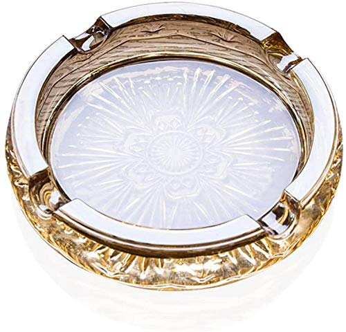 Cenicero de cristal cenicero redondo para restaurante, decoración de oficina oro17 4 cm * cm