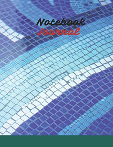 UnLined Notebook Journal, Blue ceramic tile mosaic design swimming pool cover, 120 pages - Large(8.5 x 11 inches)