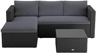 3 Piece Wicker Rattan Outdoor Corner Garden Modular Sofa Set Lounge Patio Furniture Charcoal Cushion