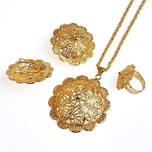 MGBDXG Co.,Ltd Collar Etiopía Conjuntos de Joyas más Grandes Color Dorado Cobre Flor Africana Diseño de Producto Eritrease Habesha Regalos de Boda de Gran tamaño Regalos