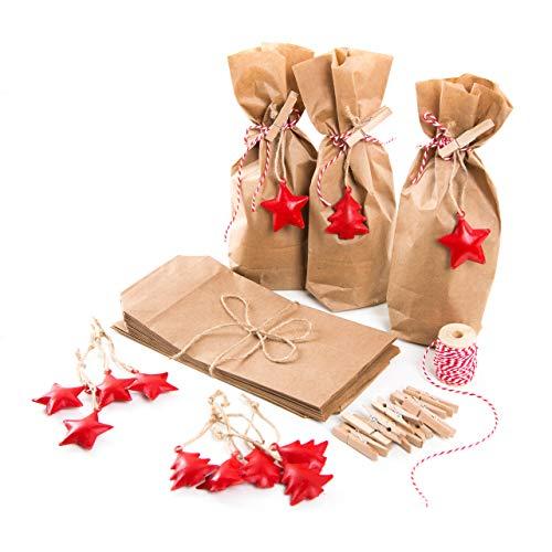 12 kleine Weihnachtstüten Verpackung Geschenke Weihnachten: Papiertüten 10,7 x 22 x 4,2 cm braun + Weihnachtsanhänger Metall Blech Christbaumschmuck weihnachtlich verpacken