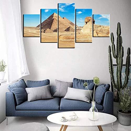 SSOOB Home Art marco de madera lienzo pared arte impresiones mural Estatua del desierto de la pirámide egipcia retro 100x50 CM 5 lienzos Modern Canvas Wall Art 5 Piezas Pictures HD Impreso Cartel de P