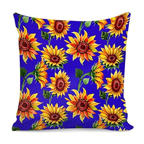 Amzbeauty - Fundas de almohada de algodón, diseño de girasoles, para mujeres, niñas, hogar, dormitorio, sala de estar, sofá, diseño floral decorativo de 45 x 45 cm