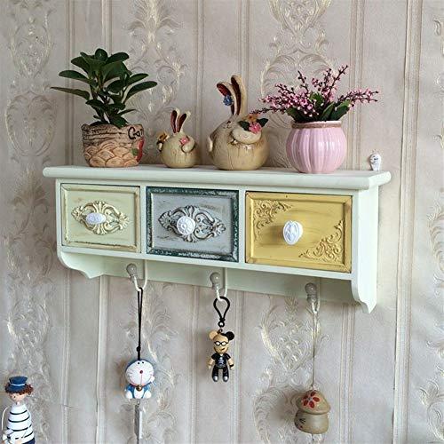 JIE KE Estante de pared retro con estantes flotantes decorativos, estante de almacenamiento para el hogar, sala de estar, dormitorio, baño, oficina, cocina (color : 3 cajones)