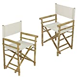 Zew Hand Crafted Foldable Bamboo Director's Chair with Treated Comfortable Canvas, Folding Chairs, White, Set of 2
