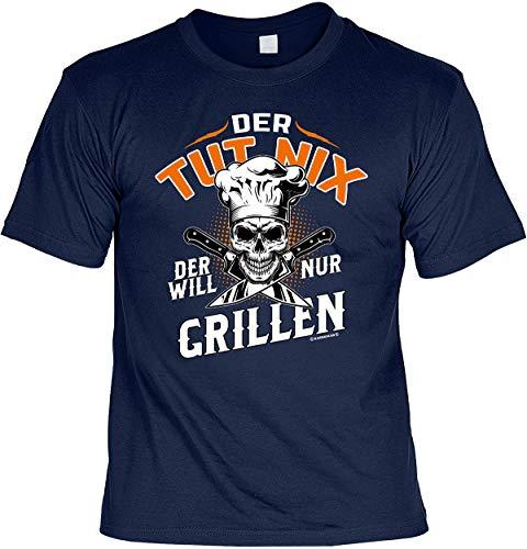 Fun T-Shirts für Männer Bedruckt - Der TUT nix - Der Will nur Grillen - Herren Shirt blau lustige Grill Geschenke-Set mit Urkunde