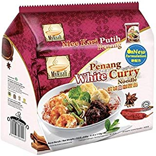 MyKuali / Malaysia Best Brand / Penang White Curry Instant Noodles / Rich Aromatic Broth / Exceptional Springy Noodles With Real Garlic Bits In Every Bite (4 packets x 110g)