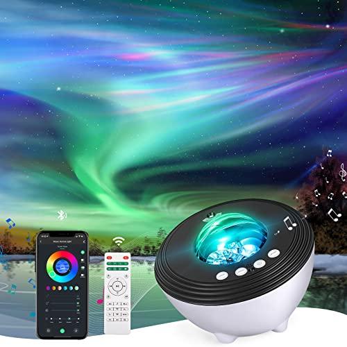 Proyector Aurora Lámpara Proyector con Músic, Febotak Lámpara Estrellas Nocturna Proyector Galaxy con WiFi Control App, Máquina de Ruido Blanco, Compatible con Alexa, Romántica luz Noche, Regalo