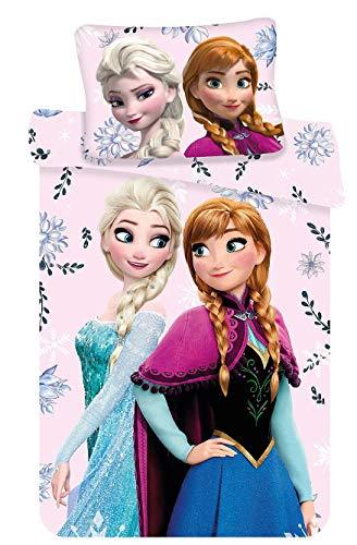 Kinderbettwäsche Disney III 2-teilig 100{da5c07c5cf7f1e7112c3933bd474f1fe6f4b89f8b3bb872d1af823752c728a10} Baumwolle 40x60 + 100x135 cm mit Reißverschluss (Frozen Elsa Flower)