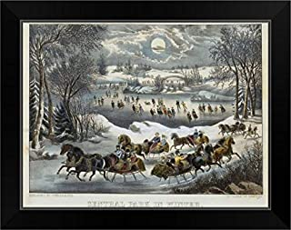 CANVAS ON DEMAND Central Park in Winter Black Framed Art Print, 19