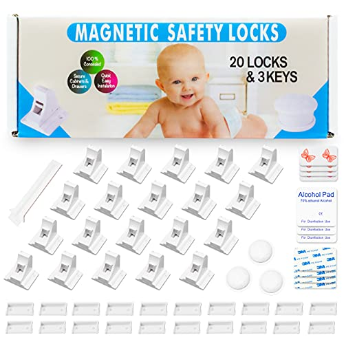 Eco-Baby Cabinet Locks for Babies - 20 Childproof Safety Latches, 3 Keys - Magnetic Baby Proof Lock for Cabinets, Doors, Drawers - Easy to Install Child Proofing