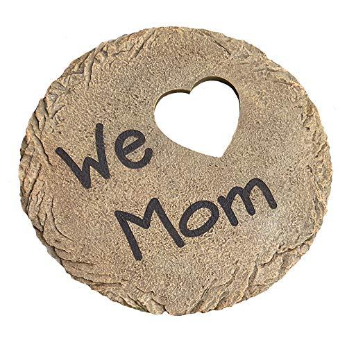 "Let's Make Memories Personalized Heart Stepping Stone - for Mom, Grandma - Resin - Custom Garden Decor - 12"" Round Stone"