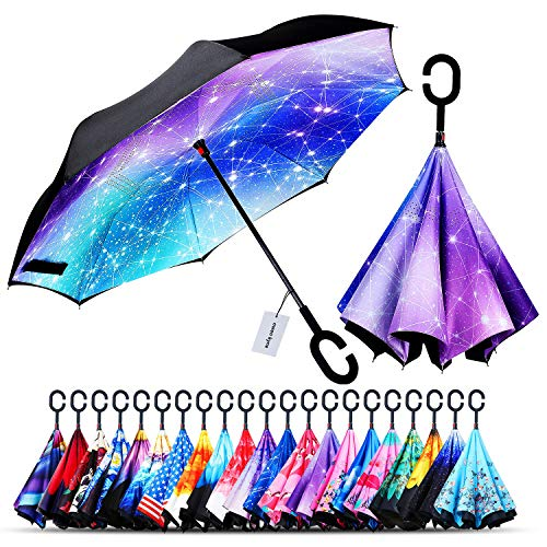 Owen Kyne Windproof Double Layer Folding Inverted Umbrella, Self Stand Upside-down Rain Protection Car Reverse Umbrellas with C-shaped Handle (New constellation)