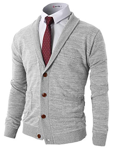 H2H Mens Basic Shawl Collar Knitted Cardigan Sweaters with Ribbing Edge LightGray US S/Asia M (CMOCAL07)