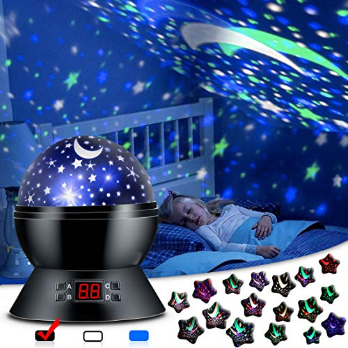 Star Sky Night Lamp,ANTEQI Baby Lights 360 Degree Romantic Room Rotating Cosmos Star Projector With LED Timer Auto-Shut Off,USB Cable Plug For Kid Bedroom,Christmas Gift (Black)