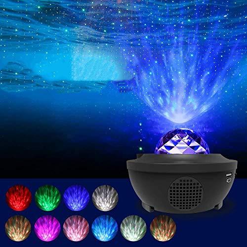 Lixada LED Sternenhimmel Projektor Baby Nachtlicht, Lampe Farbwechsel Nachtlichter Musik Sternenprojektor mit Fernbedienung Bluetooth Lautsprecher Stimmungslicht Dekorative für Schlafzimmer