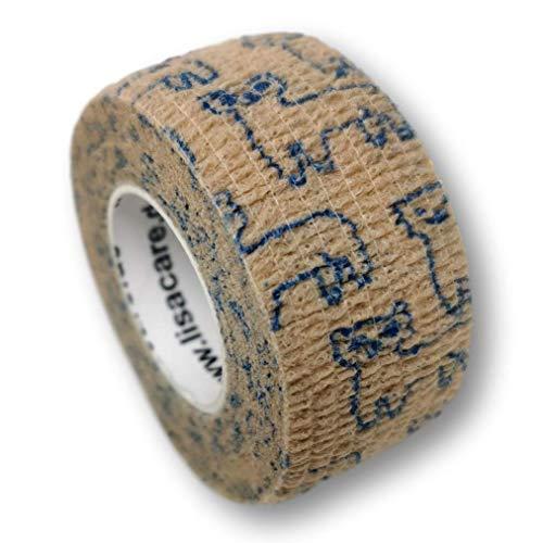LisaCare Pflasterverband, Wundpflaster, Kinderpflaster, Pflaster auf Rolle, elastisch & ohne Kleber, 2,5cm breit (2er Packung, Alpaka)
