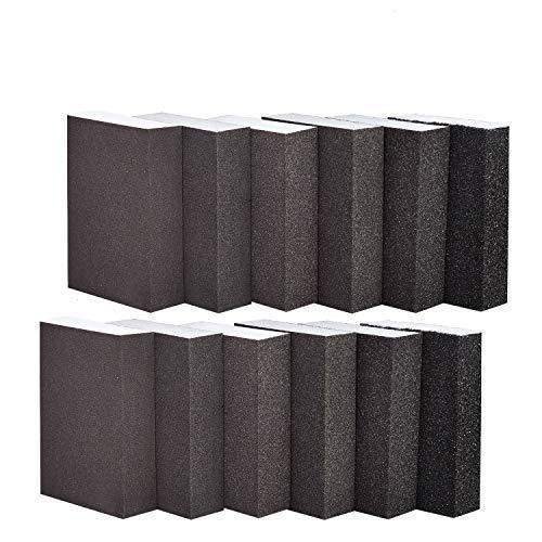 YoleShy 12 Pack Sanding Sponge, Wet Sanding Sponge Coarse/Medium/Fine/Superfine 6 Different Specifications Sanding Blocks (Brown)