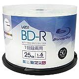 Lazos BD-R 25GB 1-6倍速対応 1回記録用 ホワイトワイド印刷対応 50枚組 スピンドルケース入 L-B50P